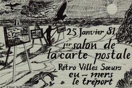 1er Salon De La Carte Postale Rétro Villes Soeurs Eu - Mers - Le Tréport - 1981 - Bourses & Salons De Collections