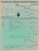 Rechnung Vins Sans Alcool Et Fabriques De Conserves Alimentaires S.A. Meilen 1923 - Suisse