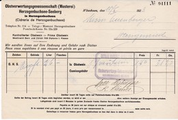 Rechnung Obstverwertungsgenossenschaft (Mosterei) Herzogenbuchsee-Seeberg, 1923 - Suisse