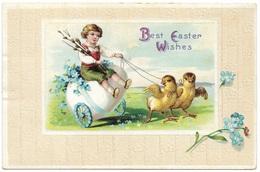 Best Easter Wishes 1913 - International Art New York - Child Enfant, Egg Pulled By Chicks, Embossed Border - Easter