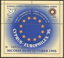 1995 Cyprus Europhilex'95 Numbered Limited Edition 5.00 CYP Surcharged Minisheet (** / MNH / UMM) - Nuevos