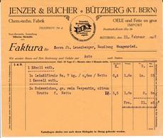 Rechnung  Jenzer & Bucher, Bützberg, Oele Und Fette En Gros,  Hochglanz Fell REX,1929 - Suisse