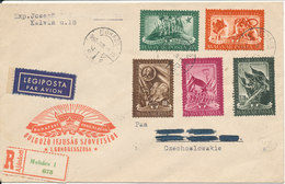 Hungary Registered FDC 19-6-1950  Complete Set Of 5 With Cachet Sent To Czechoslovakia - 1913-47 (Christian X)