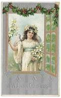 A Joyful Christmas - Angel, Lilies, Holly, Embossed - Christmas