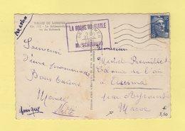 Marianne De Gandon - 12f Seul Sur Carte Postale Destination Maroc - 31-8-1951 - Gerardmer Vosges - La Roche Du Diable - 1921-1960: Moderne