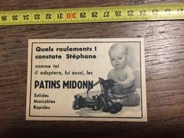 PUB PUBLICITE PATINS A ROULETTES MIDONN BEBE - Vieux Papiers