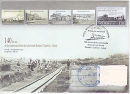 "2017 ,  Moldova , 140 Years Of Rail-road Section "" Bendery - Galati (Romania)'', Railway , Basarabia , Prep. Envelope - Moldova"
