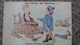 CPA ENFANTS JOUANT A LA GUERRE DES CANONS DES MUNITIONS FABRIQUE DE CANONS ET AUTOCANONS TROTTINETTE - Cartes Postales
