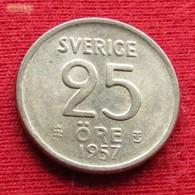 Sweden 25 Ore 1957 KM# 824 Silver   Suede Suecia Sverige Svezia - Sweden
