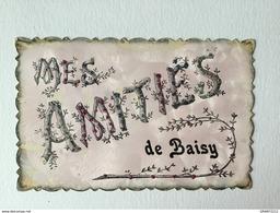 GENAPPE « MES AMITIÉS DE BAISY  «décorée De Strasses Paillettes Colorées ,relief  ,effet Nacré (1908 )Édit V.P.F . - Genappe