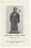 Santino Antico San Ciro Medico Eremita E Martire Da Picarelli - Avellino - Religione & Esoterismo
