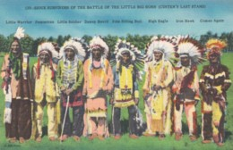 Ogallala Sioux Survivors Of Battle Of Little Bighorn Custers Last Stand, 1948 Reunion, C1940s Vintage Linen Postcard - Indiani Dell'America Del Nord