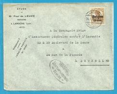 """Lettre TP Germania Cachet Allemand LAROCHE - Censure MARCHE - Entete """" PAUL DE LEUZE / NOTAIRE """" (VK) - [OC1/25] General Gov."""