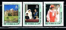 """Turk & Caicos Islands       """"Princess Diana""""      Set    SC# 531-33     MNH - Turks And Caicos"""