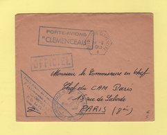 Poste Navale Embarquee - Porte Avion Clemenceau - 14-8-1963 - Pli Officiel - Postmark Collection (Covers)