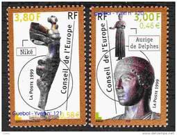 France - Timbre De Service N° 120 Et 121 ** Conseil De L Europe 1999 - Statues - Neufs