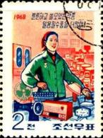 Corée Nord Poste Obl Yv: 820 Mi:868 Ouvrière & Radio (Beau Cachet Rond) - Korea, North