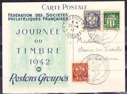 FRANCE 1942 POST CARD COVER COAT OF ARMS LILLE MARSEILLE RENNES STAMP DAY POSTMARK IV# 527-532-534 - Journée Du Timbre
