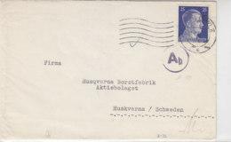 Zensurbrief Von Fa. UNGER & CIE Aus FÜRTH 30.8.43 Nach Husqvarna/Schweden - Deutschland