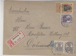 R-Brief Mit Ua. 25Pf Germania (UR) Aus HAMBURG 12 16.4.19 Nach Dortmund-Dorstfeld / Geprüft - Deutschland