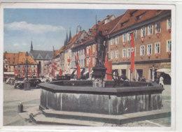 Ansichtskarte Aus EGER 20.10.42 Nach Przemysl / A. H. Platz Mit Rolandsbrunnen - III.Reich - Allemagne