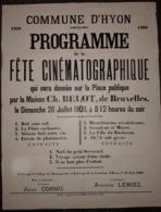 Placard (affiche) - Programme De La Fête Cinématographique De La Commune D'HYON 26 Juillet 1908 (50x65 Cm) - Posters