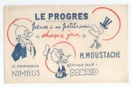 BUVARD PRESSE ECRITE LE PROGRES DISNEY DONALD PROFESSEUR NIMBUS M.MOUSTACHE BE - Buvards, Protège-cahiers Illustrés