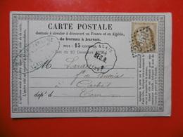 GC 2659 SUR CERES CARTE PRÉCURSEUR CACHET CONVOYEUR STATION ALAIS BES.N 1875 - Marcophilie (Lettres)