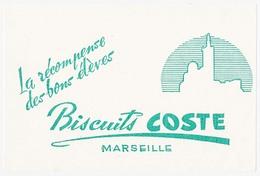 Buvard 21 X 14.1  Biscuits COSTE  Marseille Bouche Du Rhône (vert 4) - Buvards, Protège-cahiers Illustrés