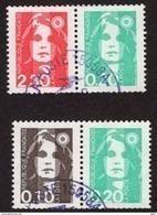 YT P2614 + P2617 Paires Oblitérées Issues Du Carnet 1502 Marianne Du Bicentenaire, Peu Proposé RARE. - 1989-96 Marianne Du Bicentenaire