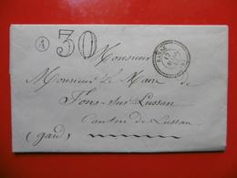 LETTRE TAXE 30 CACHET BANNE CACHET DE FACTEUR St PAUL LE JEUNE 1863 - Postmark Collection (Covers)