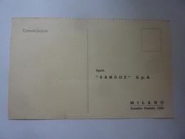 """Cartolina Postale Pubblicitaria """"SANDOZ S.p.A. PURSENNID Milano"""" 1946 - 6. 1946-.. Repubblica"""