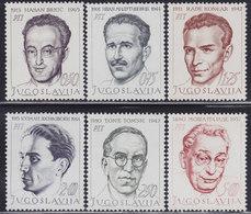 Yugoslavia 1968 Yugoslav National Heroes, MNH (**) Michel 1307-1312 - Celebrità