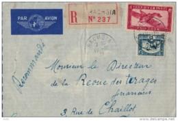 INDOCHINE  LETTRE RECOMMANDEE DE RACHGIA A PARIS 1937 PAR SAIGON PAR AIR FRANCE - Indochine (1889-1945)