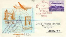 1959 1° VOLO SAN MARINO - LONDRA FDC SAN MARINO  FIRST FLY - Avions