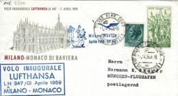 PRIMO VOLO FIRST FLIGHT LUFTHANSA MILANO MONACO 1959 AEROFILATELIA - Aerei