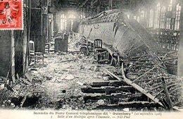 Paris 01 : Rue Du Louvre Incendie Du Central Téléphonique Gutenberg (20 Septembre 1908) Salle D'un Multiple - Arrondissement: 01