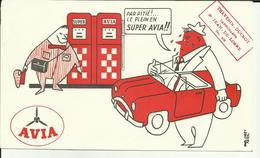 Buvard Avia - Essence - Borne - Automobile - Illustrateur-21-St.Jean De Losne - Thévenin - - Automotive