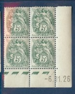 N° 111 BLANC 5c COIN DATE DU 06/11/26 ** - Coins Datés