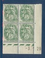 N° 111 BLANC 5c COIN DATE DU 03/01/29 ** - Coins Datés