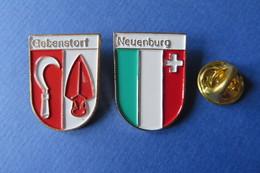 2 Pin's, Ville,Village,GEBENSTORF,NEUENBURG, Blason, Suisse, Wappen, - Villes
