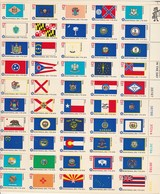 USA Yvert  1081 à 1130 ** Feuillet Indépendance Des Etats Unis Drapeaux - Lot 1 - Pli Central Selon La Dentelure - Lot 2 - Etats-Unis