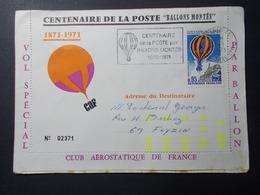 Marcophilie  Cachet Lettre Obliteration - Centenaire De La Poste BALLONS MONTES - 1971 (2242) - Marcophilie (Lettres)