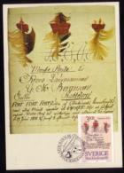 POSTAL HISTORY - FEATHER LETTER FEDERBRIEF SWEDEN SUEDE SCHWEDEN 1984 MI 1290 MAXIMUM CARD CARTE Slania Stockholmia 86 - Philatelic Exhibitions