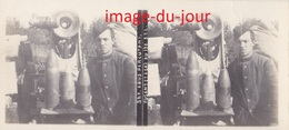 Photo Ancienne  GUERRE 1914 1918  OBUS PERCUTANT A GAZ DU CANON 120 ( POILU )  WWI ( Photo Stéreo ) - Oorlog, Militair