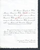 FAIRE PART DE MARIAGE LA BARONNE GONZALVE DE WITTE Mr RENAUD DE WITTE CHEVALLIER CROIX DE GUERRE Md LAPOINTE LE COMPREUX - Mariage