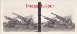 Photo Ancienne  GUERRE 1914 1918  CANON ALLEMAND DE 150 LONG  WWI ( Photo Stéreo ) - Guerre, Militaire