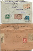 Type Merson Sur Lettre 4 Enveloppes  Cognac - Lille - Paris - Colmar - Annullamenti Meccaniche (Varie)