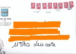 8 Marianne L'engagée Yseult YZ Lettre Prioritaire Sur Enveloppe Illustrée Mairie De Fitou Aude Cachet Manuel - 2018-... Marianne L'Engagée