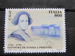 *ITALIA* USATI 1999 - 2° CENT ELEONORA FONSECA PIMENTEL - SASSONE 2422 - LUSSO/FIOR DI STAMPA - 6. 1946-.. Repubblica